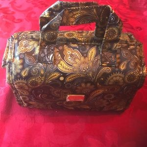 JM N.Y. - gold paisley roll up travel toiletry bag